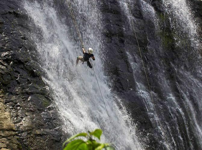 Vihigaon waterfalls near mumbai in monsoon